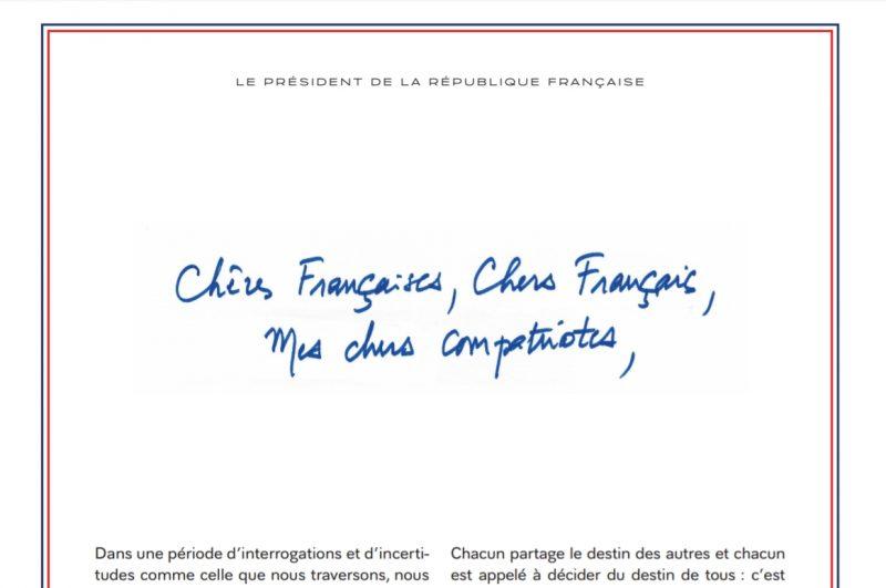 Lettre du Président de la République aux Français - 14 janv 2019