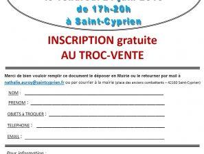 Télécharger le formulaire d'inscription GRATUITE au Troc-Vente de la SOIRÉE de L'ÉTÉ