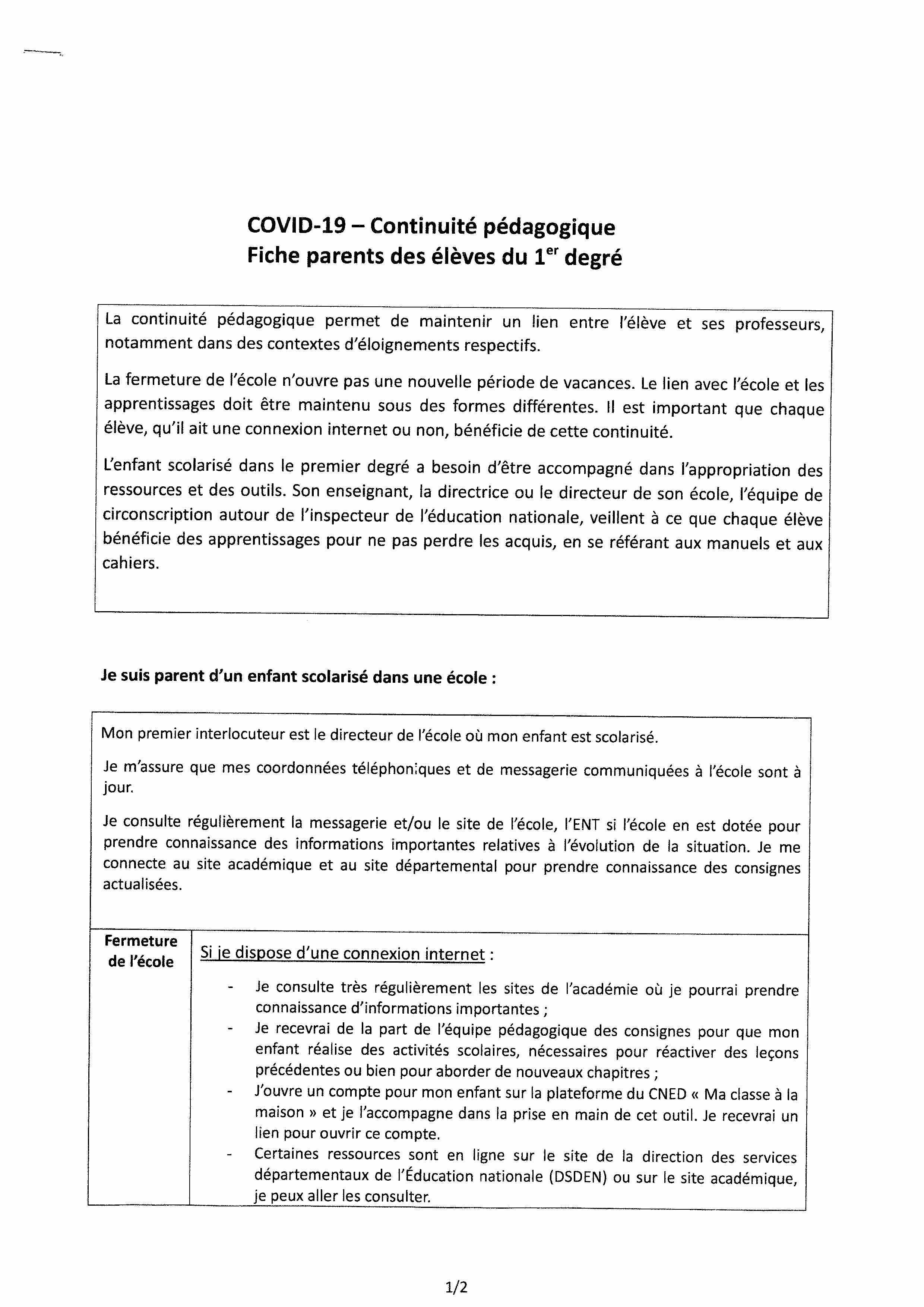 COVID 19 - continuité pédagogique -1