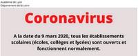 Coronavirus : tous les établissements scolaires ouverts à la date du 9 Mars 2020