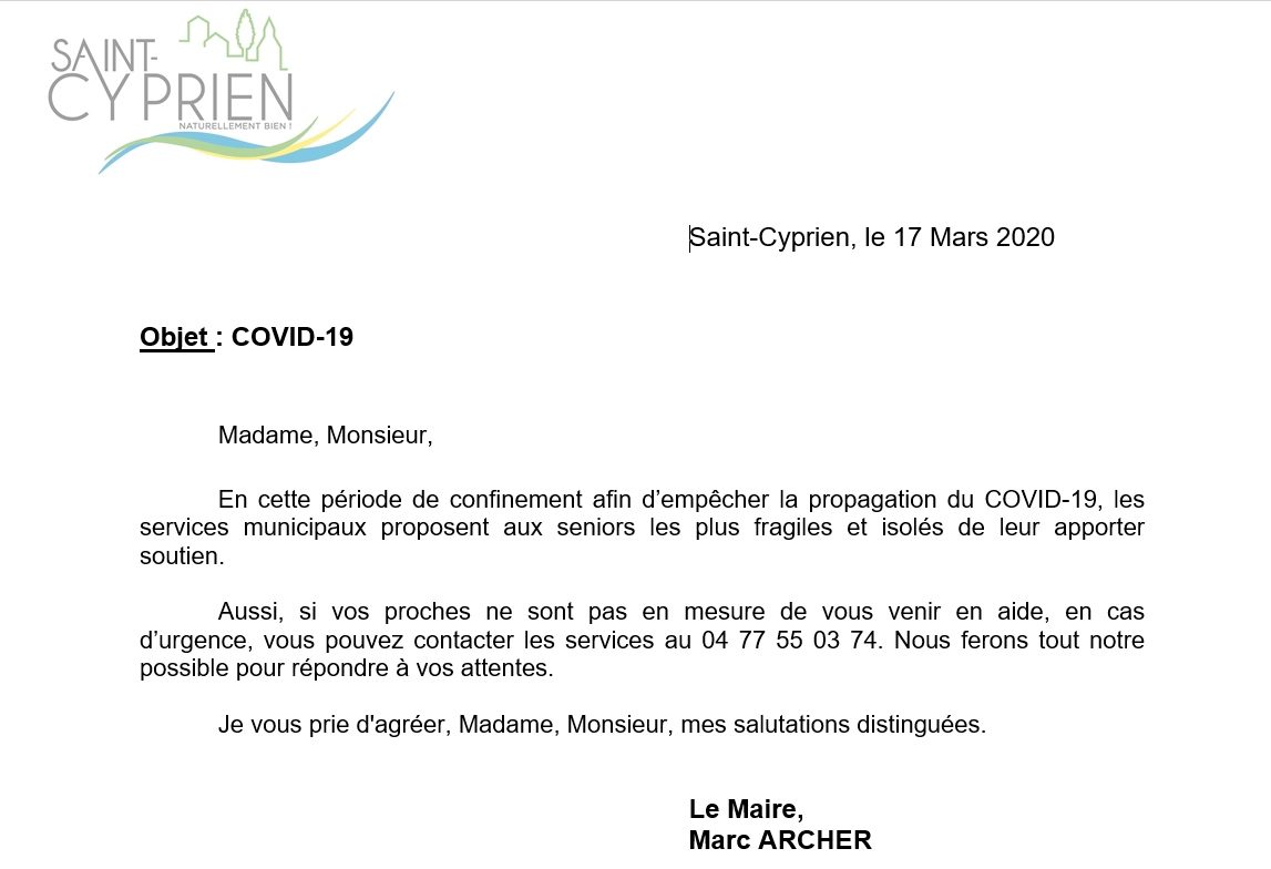 courrier senior mairie
