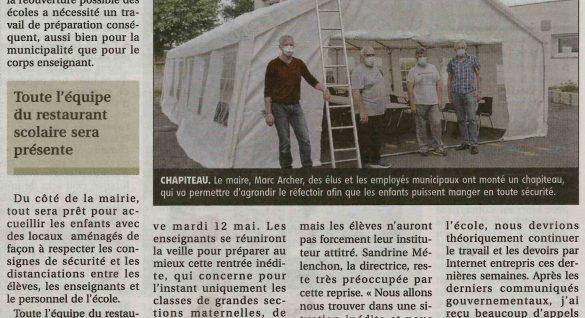 Reprise scolaire – article Journal Le Pays 7 mai 2020
