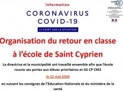 [COVID-19] INFORMATIONS sur l'organisation du retour en classe