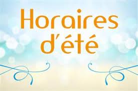 HORAIRES D'ETE DE LA MAIRIE, DE LA BIBLIOTHEQUE ET DE L'AGENCE POSTALE