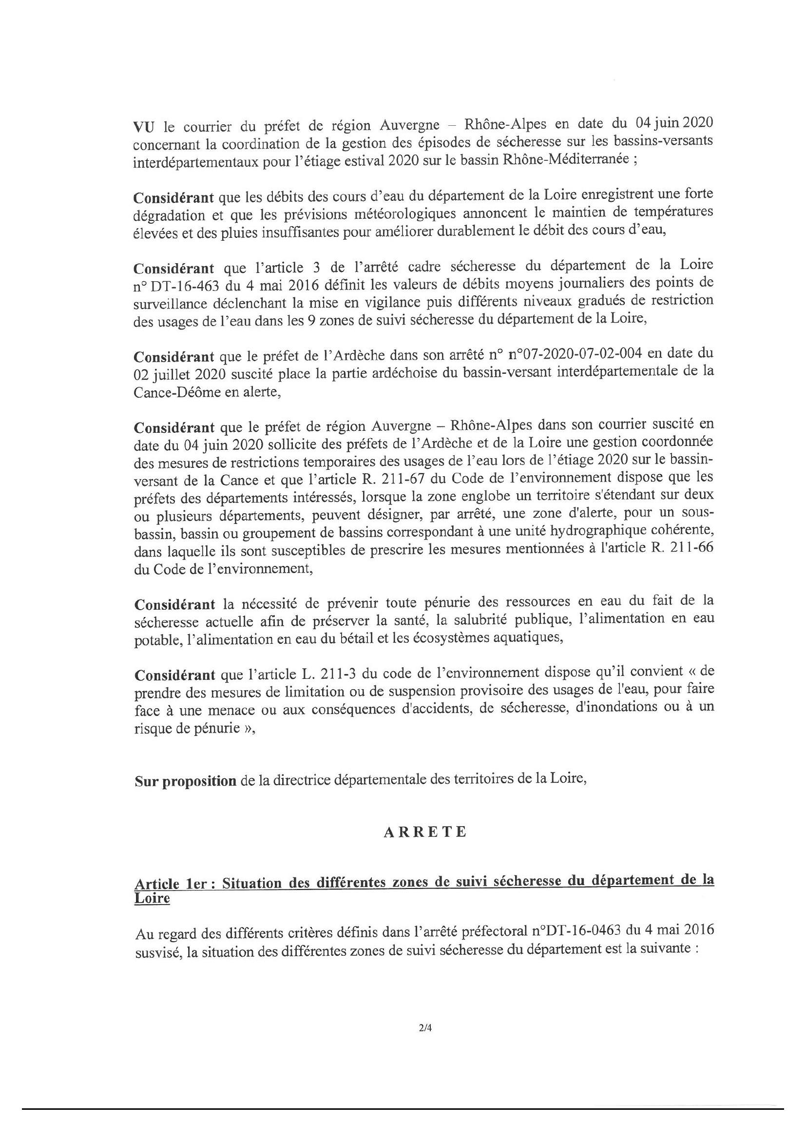 arrêté préfectoral sécheresse - 2