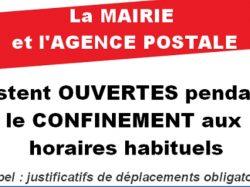 [COVID-19] La Mairie et l'Agence postale restent ouvertes pendant le confinement