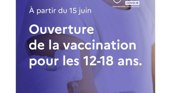 [COVID-19] Vaccination ouverte pour les 12-18 ans sans condition