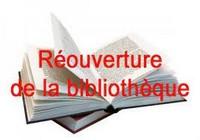 REOUVERTURE DE LA BIBLIOTHEQUE  le vendredi 3 Septembre 2021
